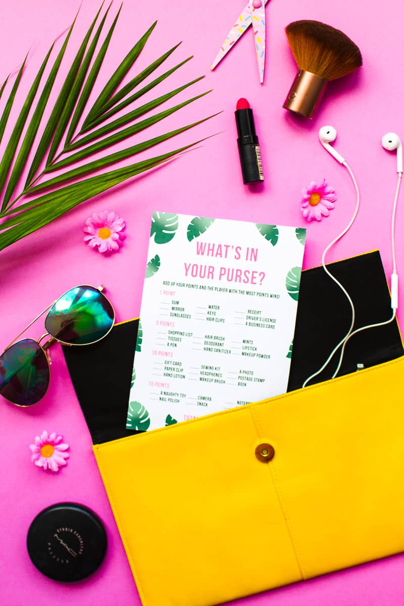 What's in your purse bag bridal shower game bachelorette party tropical theme games pack palm pink green-8