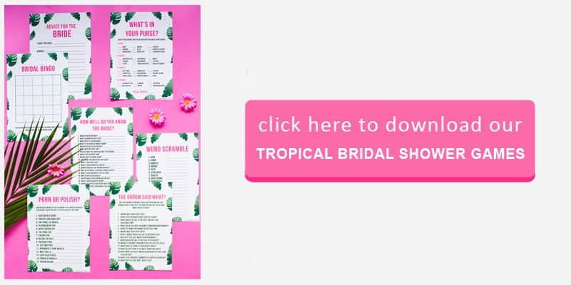 tropical Bridal Game Button