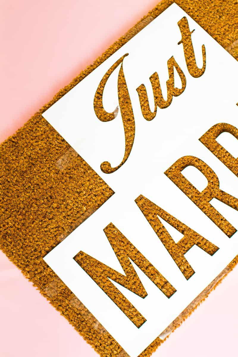 DIY Just Married Door Mat Spray Paint Rustoleum Cricut Newlywed Project Tutorial