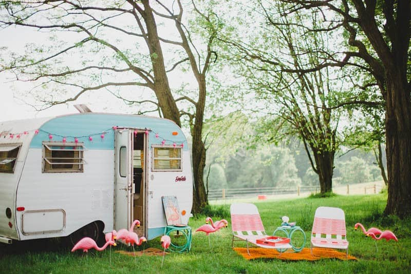 FLAMINGO THEMED ELOPEMENTS IDEAS IN A VINTAGE AIRBNB CAMPERVAN (10)