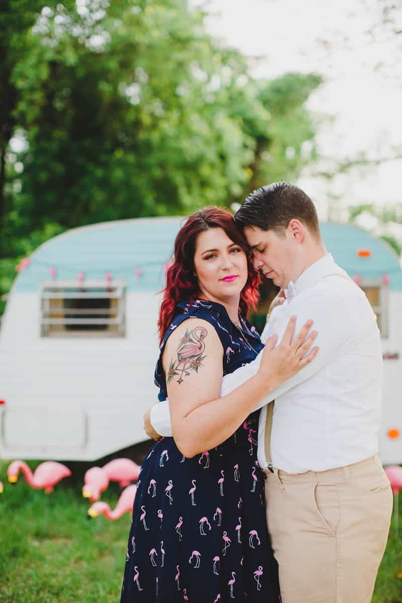 FLAMINGO THEMED ELOPEMENTS IDEAS IN A VINTAGE AIRBNB CAMPERVAN (18)