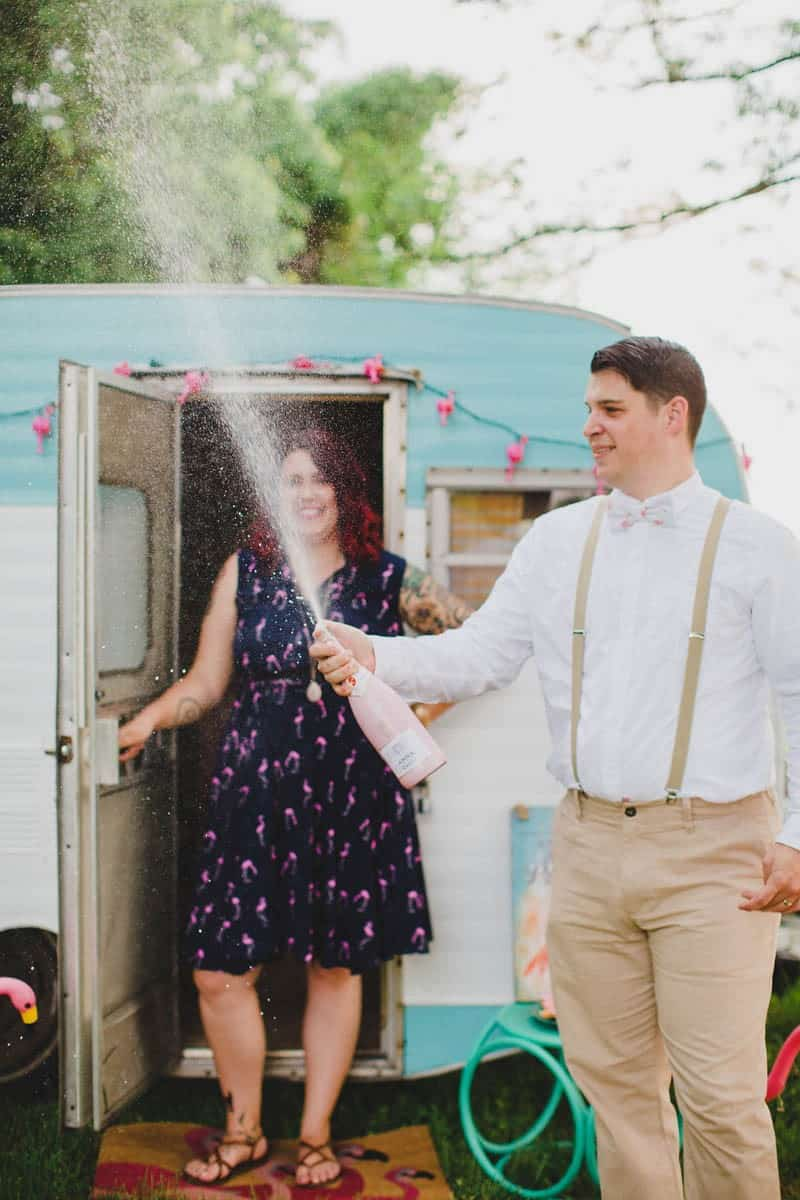 FLAMINGO THEMED ELOPEMENTS IDEAS IN A VINTAGE AIRBNB CAMPERVAN (19)