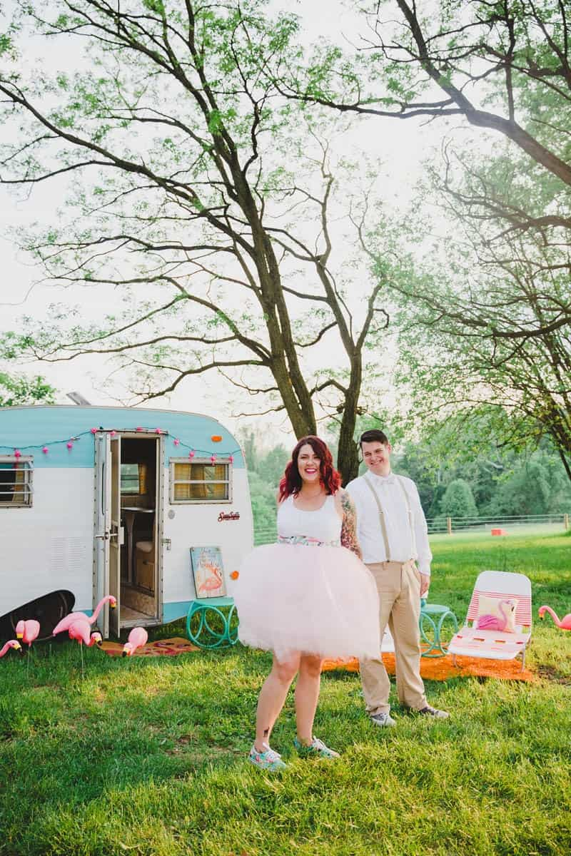 FLAMINGO THEMED ELOPEMENTS IDEAS IN A VINTAGE AIRBNB CAMPERVAN (25)