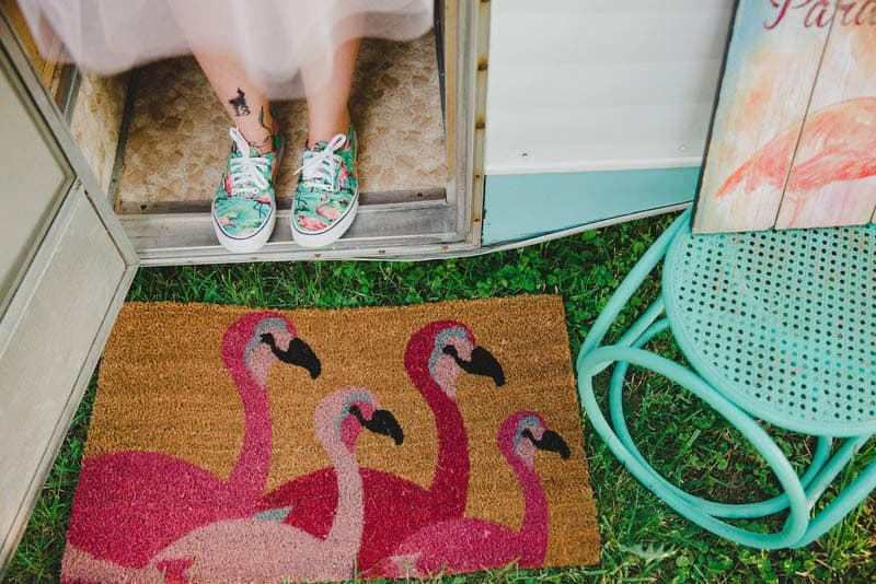 FLAMINGO THEMED ELOPEMENTS IDEAS IN A VINTAGE AIRBNB CAMPERVAN (28)