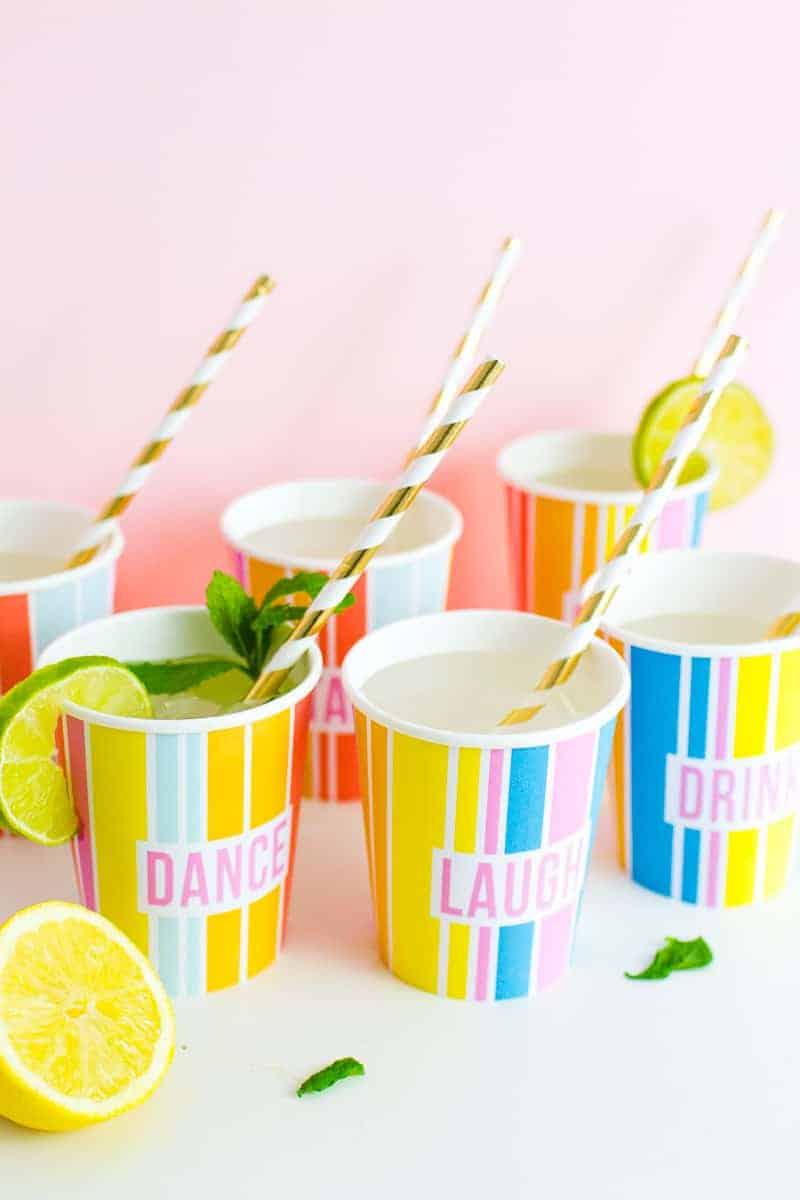 Printable Cup Wraps Rainbow Colourful Fun Party Bachelorette Hen Bridal Shower Birthday Slogan DIY-10