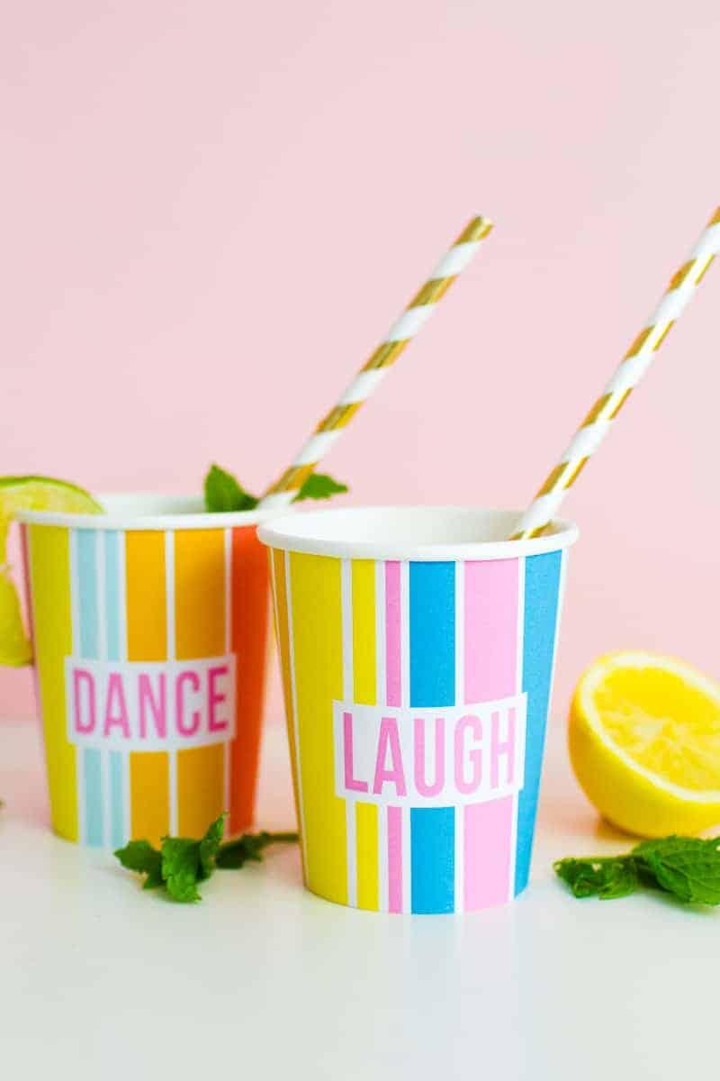 Printable Cup Wraps Rainbow Colourful Fun Party Bachelorette Hen Bridal Shower Birthday Slogan DIY-11