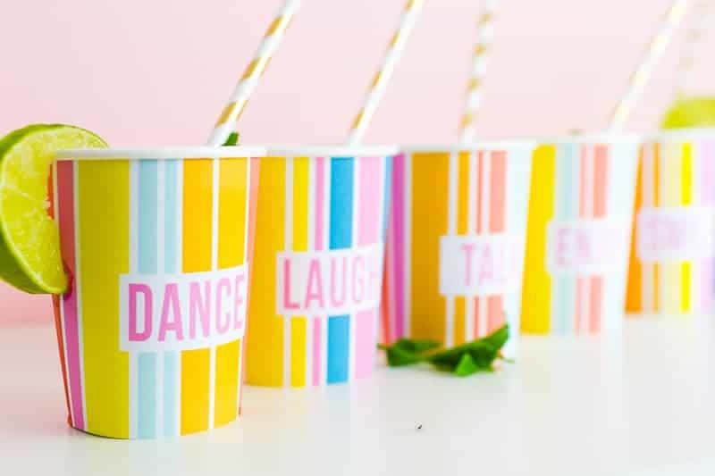 Printable Cup Wraps Rainbow Colourful Fun Party Bachelorette Hen Bridal Shower Birthday Slogan DIY-15