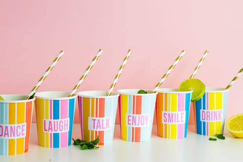 Printable Cup Wraps Rainbow Colourful Fun Party Bachelorette Hen Bridal Shower Birthday Slogan DIY-17