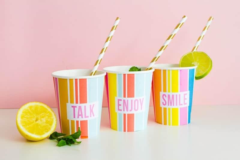 Printable Cup Wraps Rainbow Colourful Fun Party Bachelorette Hen Bridal Shower Birthday Slogan DIY-18