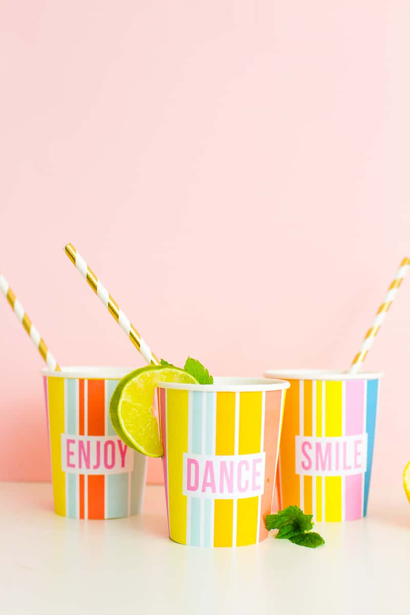 Printable Cup Wraps Rainbow Colourful Fun Party Bachelorette Hen Bridal Shower Birthday Slogan DIY-8