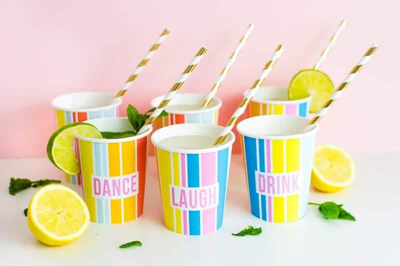 Printable Cup Wraps Rainbow Colourful Fun Party Bachelorette Hen Bridal Shower Birthday Slogan DIY-9
