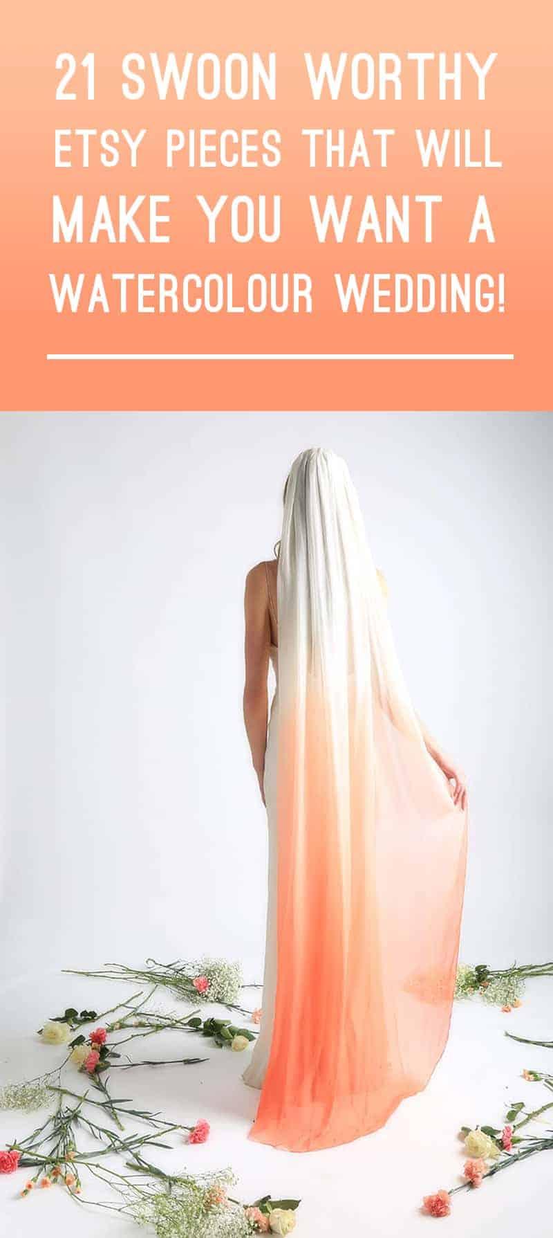 Watercolour Ombre Wedding Ideas Veil