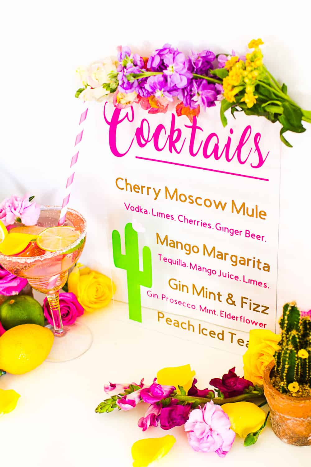 Diy Drinks Cocktail Menu On Glass With Vinyl Welcome Tropical Bespoke Bride Wedding Blog