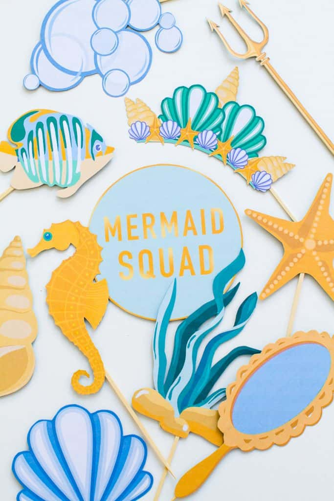Illustration of a beautiful couple of mermaids just married and.