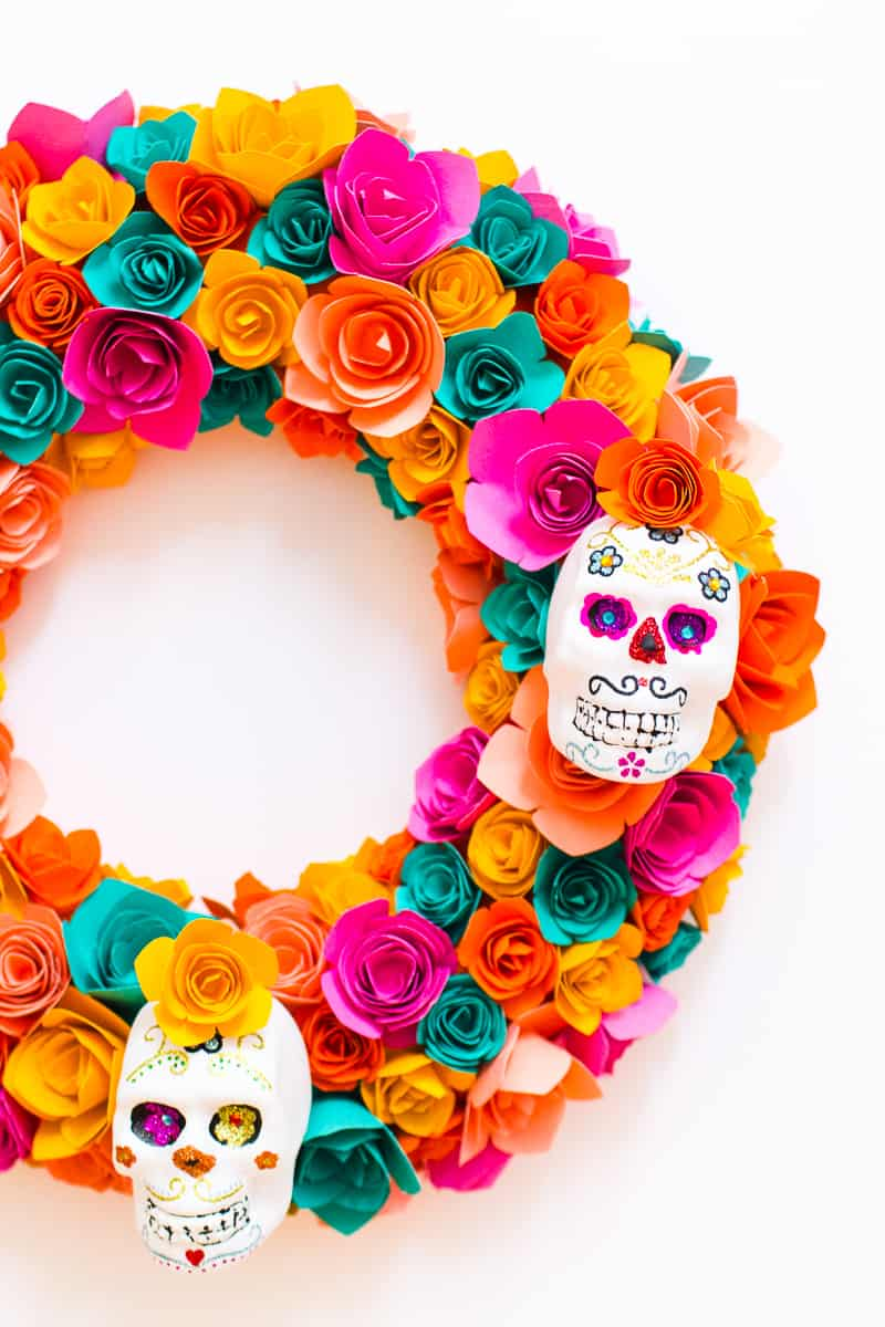Diy sugar skull halloween wreath bespoke bride wedding blog for Day of the dead craft supplies