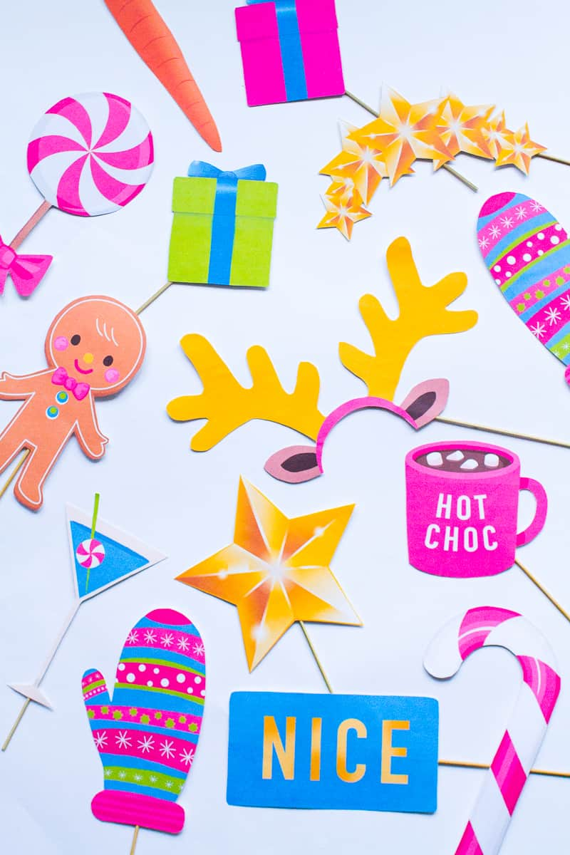 Cute Christmas Puns.Fun Modern Printable Christmas Photo Booth Props Bespoke