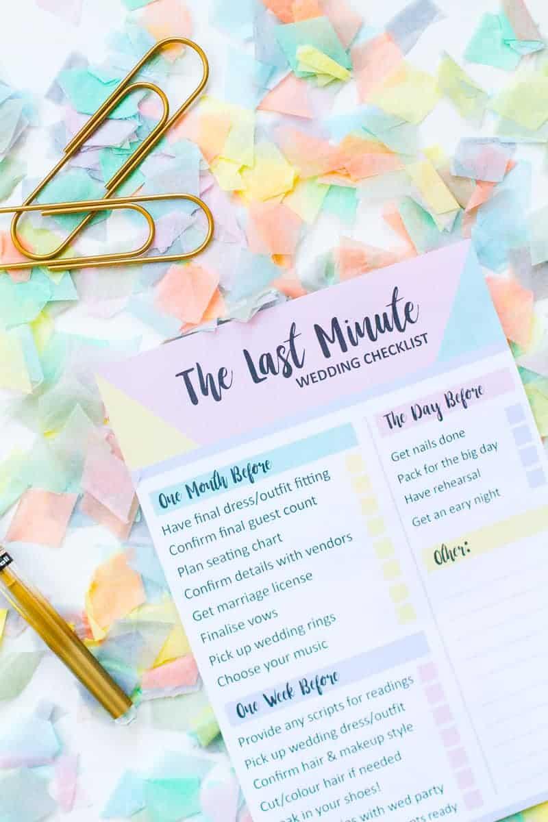 grab this free printable last minute wedding checklist