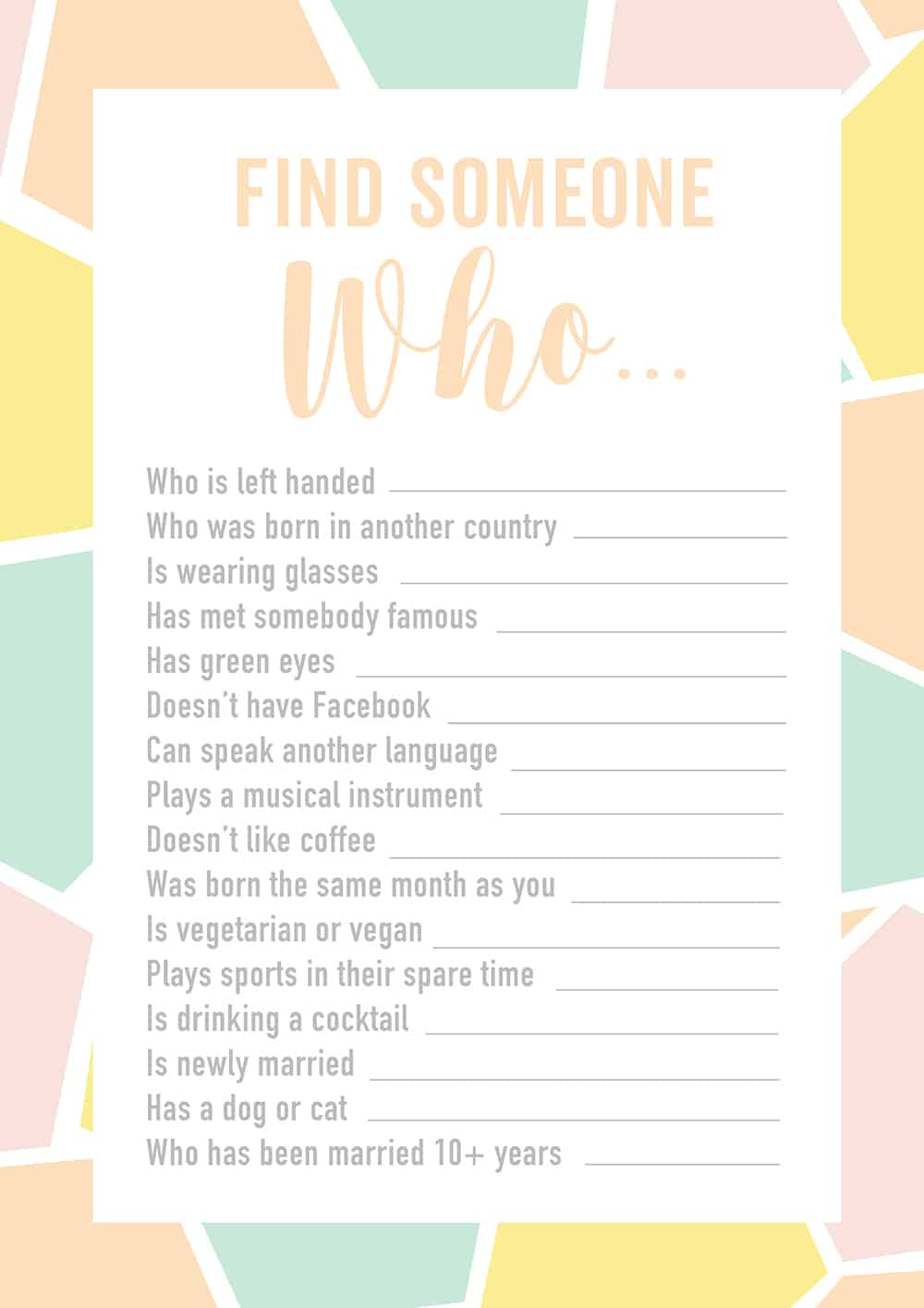 photo relating to Questions to Ask Wedding Venue Printable identified as Totally free PRINTABLE ENGAGEMENT Social gathering OR Wedding day ICE BREAKER Activity