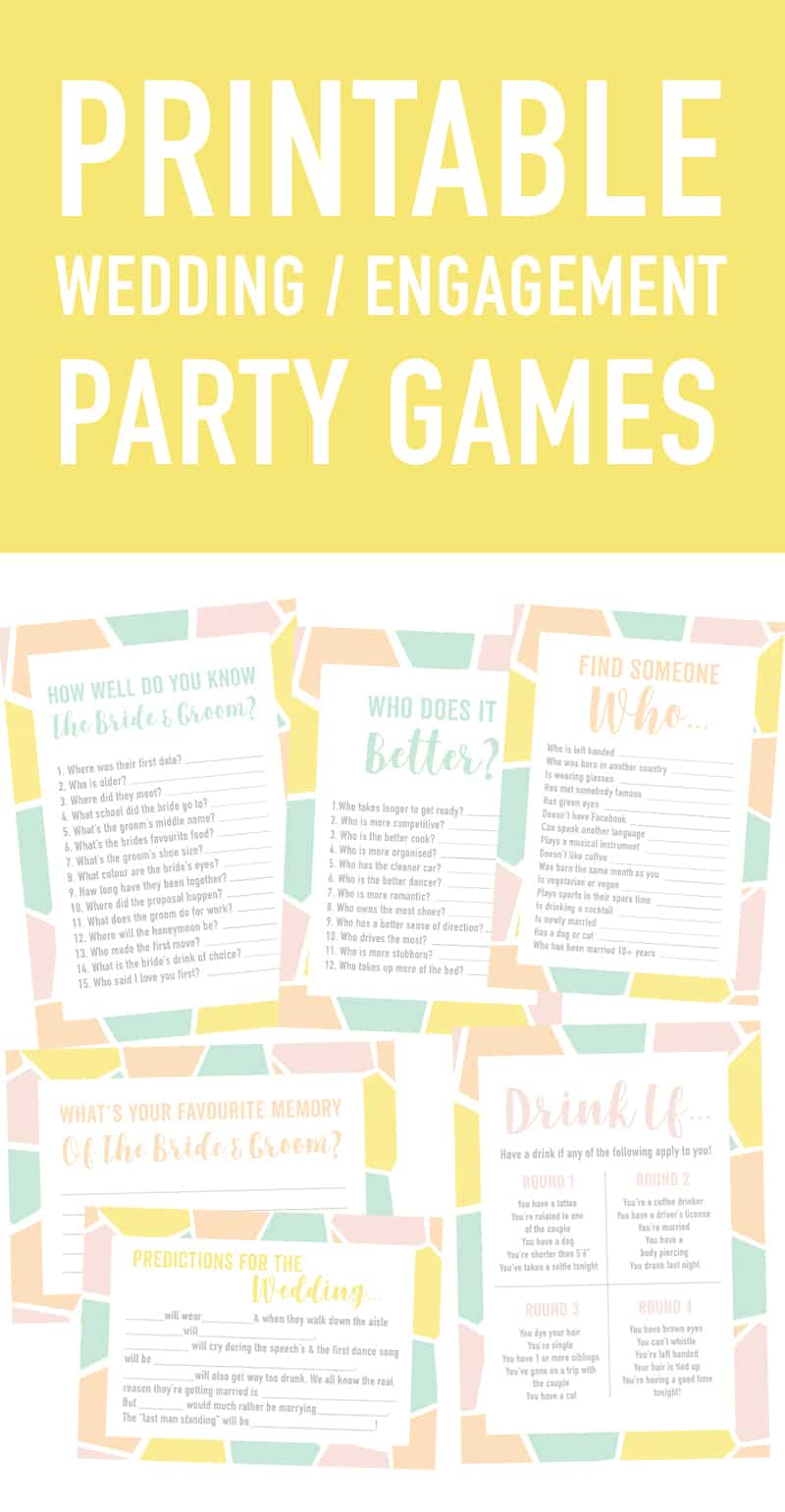 photo regarding Printable Party Games called No cost PRINTABLE ENGAGEMENT Get together OR Wedding ceremony ICE BREAKER Activity