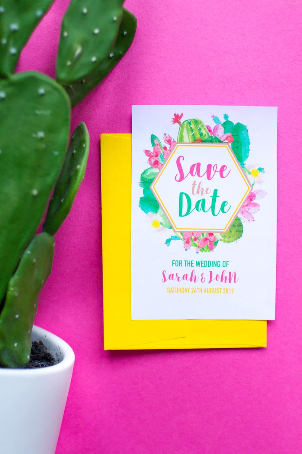 picture about Printable Save the Date known as No cost PRINTABLE CACTUS THEMED Help save THE Day (ITS EDITABLE