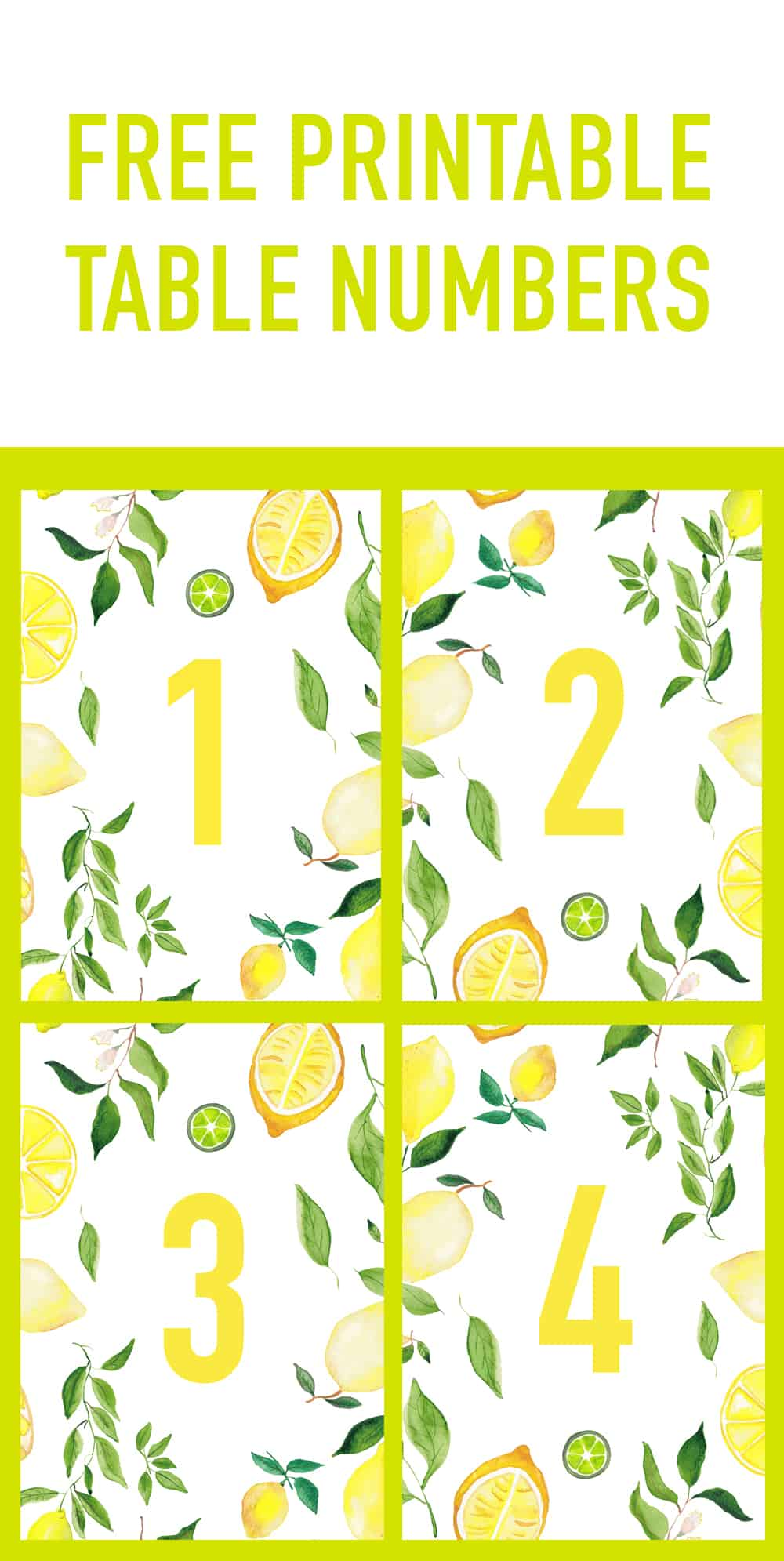 image about Printable Table Number named Cost-free PRINTABLE Wedding ceremony Desk Figures LEMON THEMED SPRING