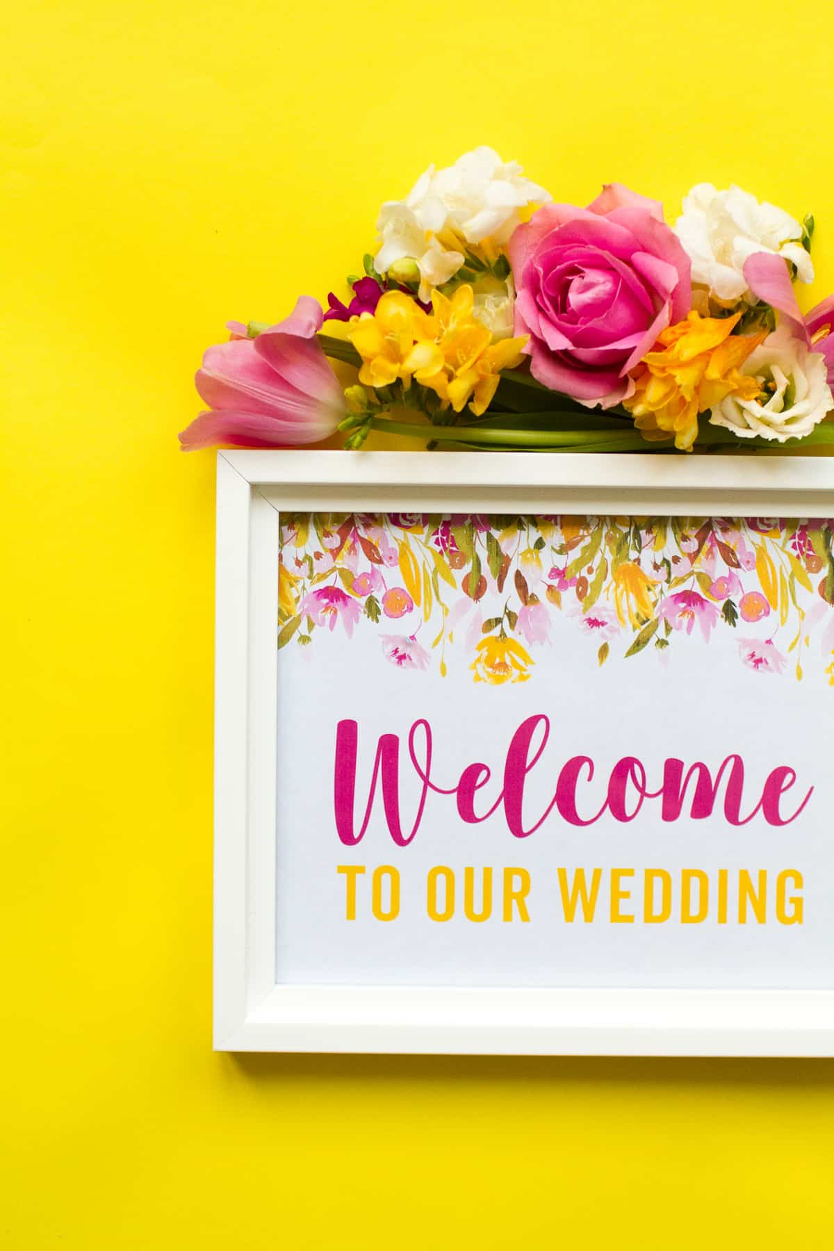 image regarding Free Printable Welcome Sign known as Totally free PRINTABLE WELCOME Towards OUR Wedding ceremony Indicator SPRING FLORAL