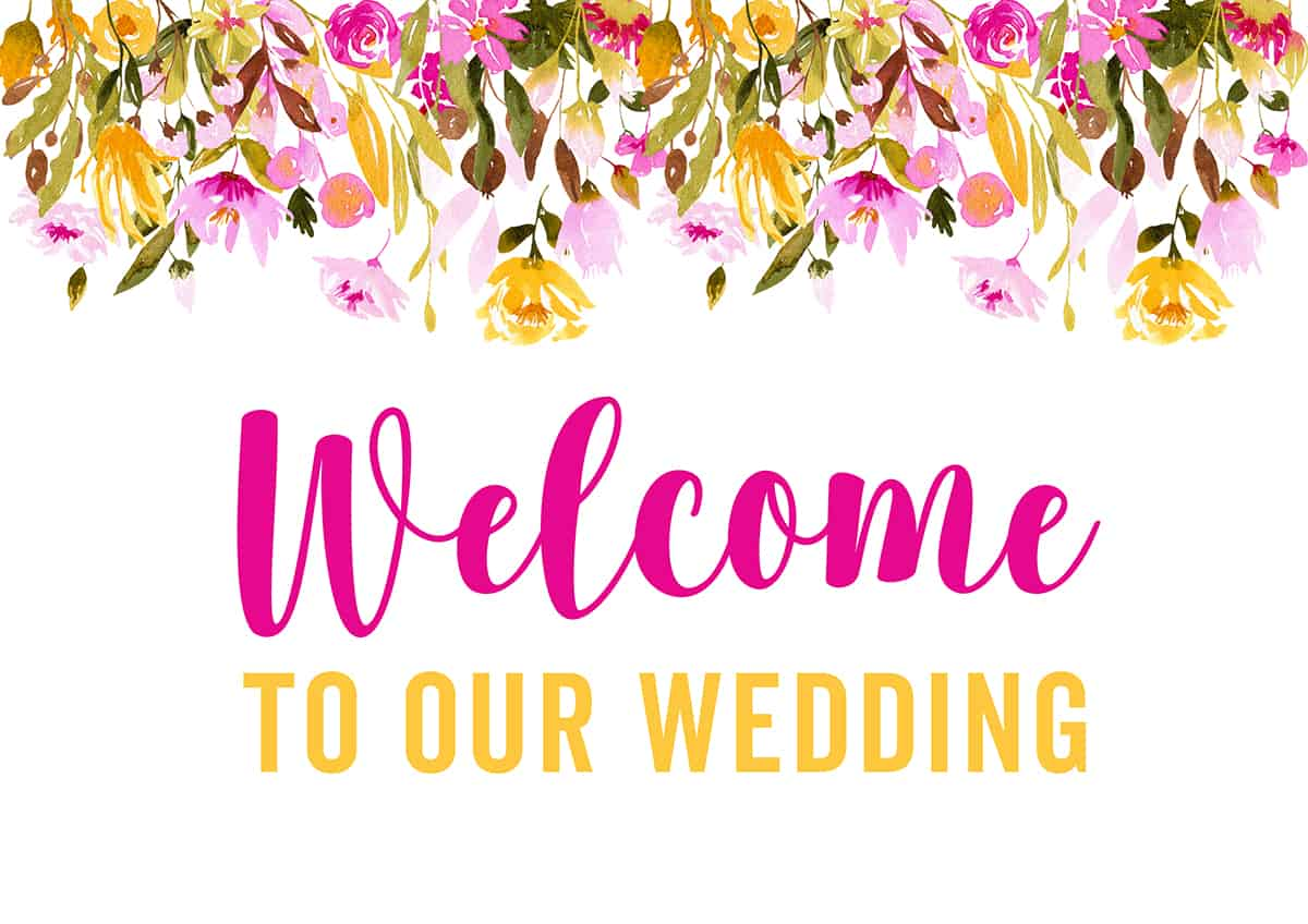 image relating to Free Printable Welcome Sign identified as Free of charge PRINTABLE WELCOME In direction of OUR Wedding day Indication SPRING FLORAL