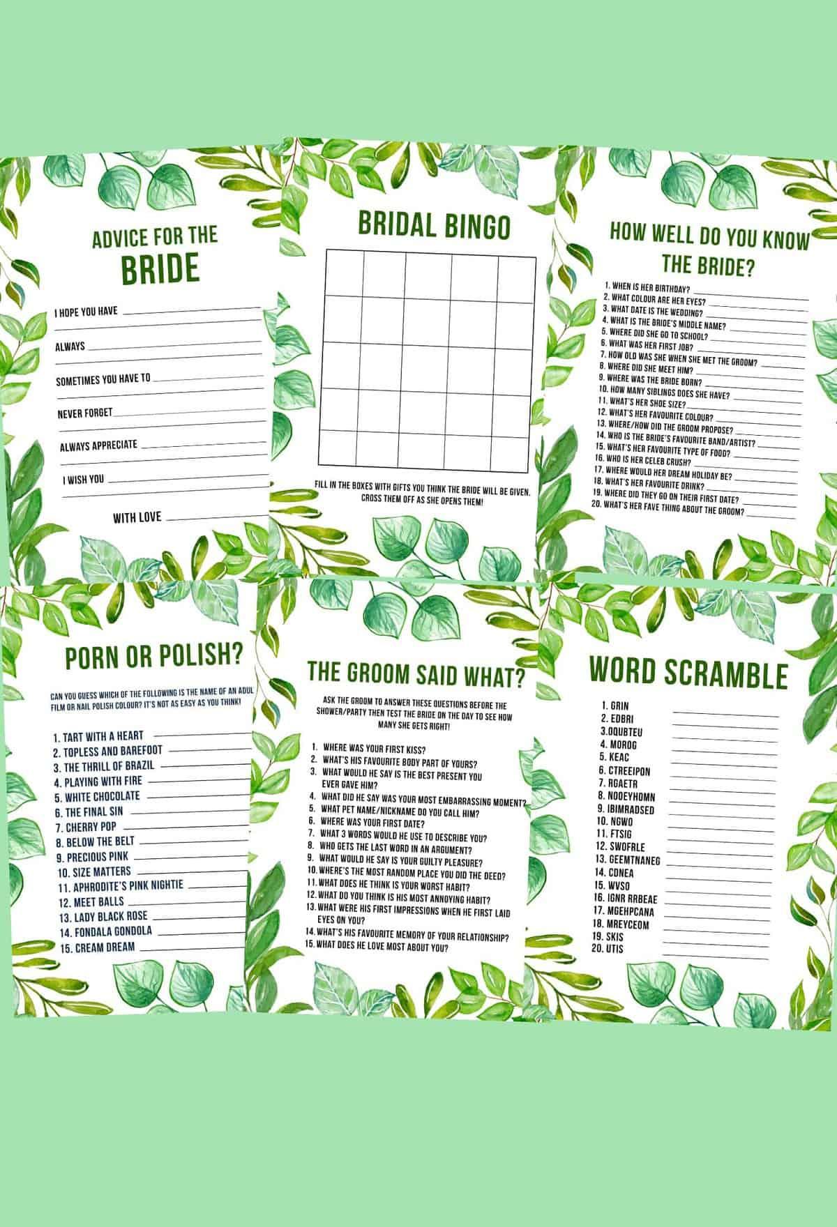12 Bachelorette Games Hen Party Bridal Shower Games Printable Download Bespoke Bride Wedding Blog