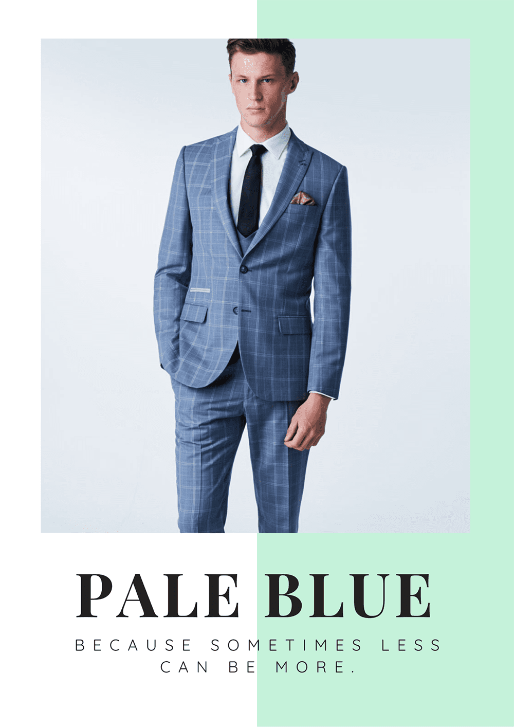 Pale Blue Checked Mens Grooms Suit