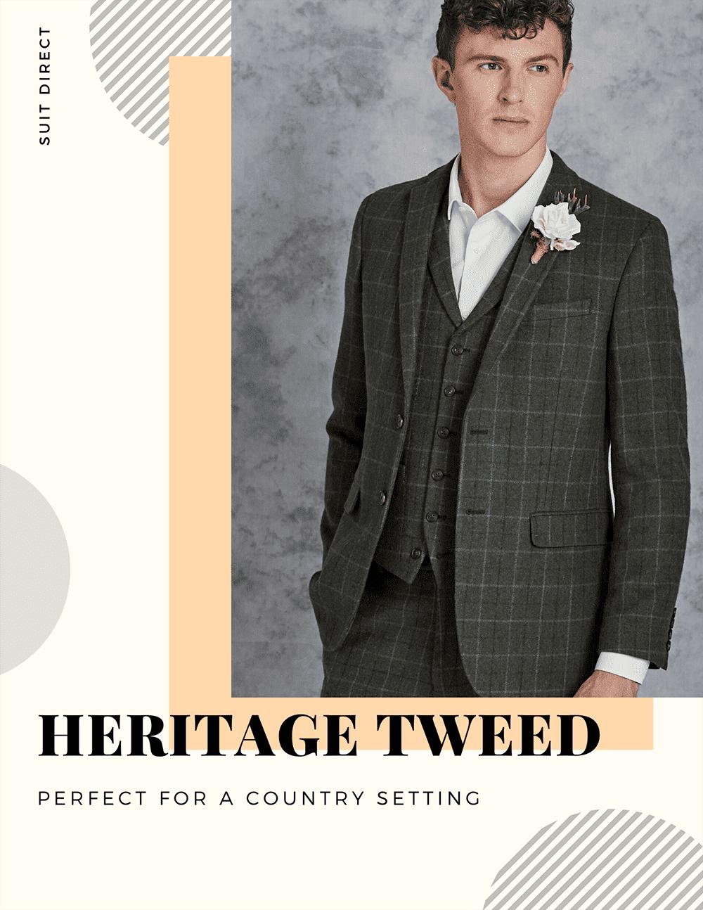 Heritage Tweed Mens Grooms Wedding Suit