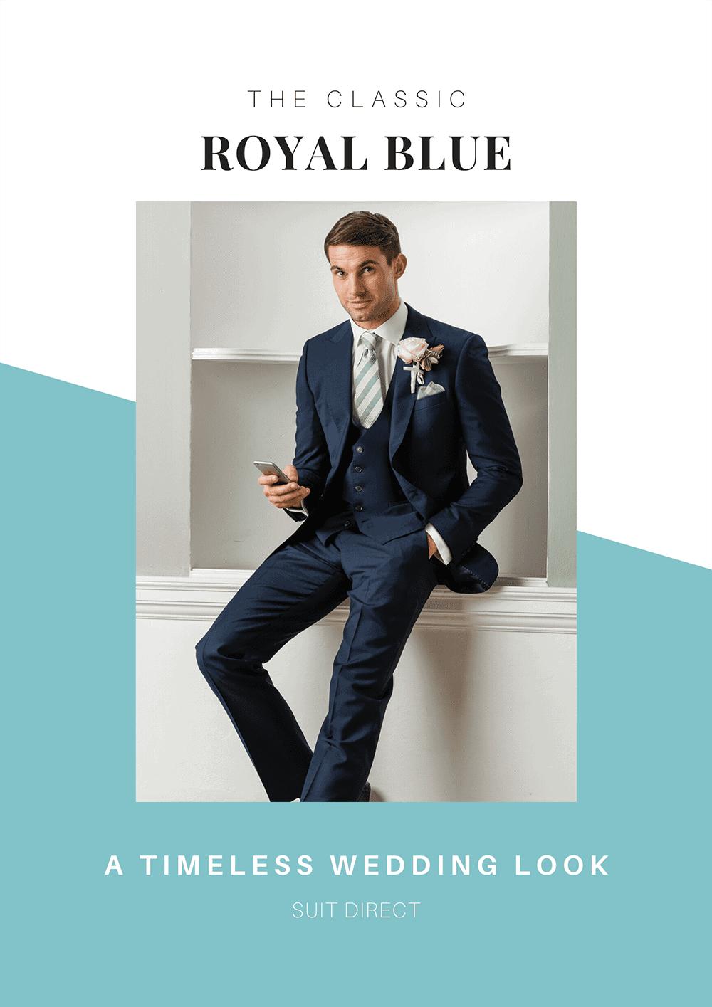 Royal Blue Mens Grooms Wedding Suit