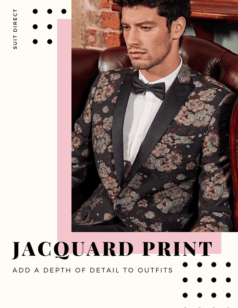 Jaquard Print Mens Grooms Suit