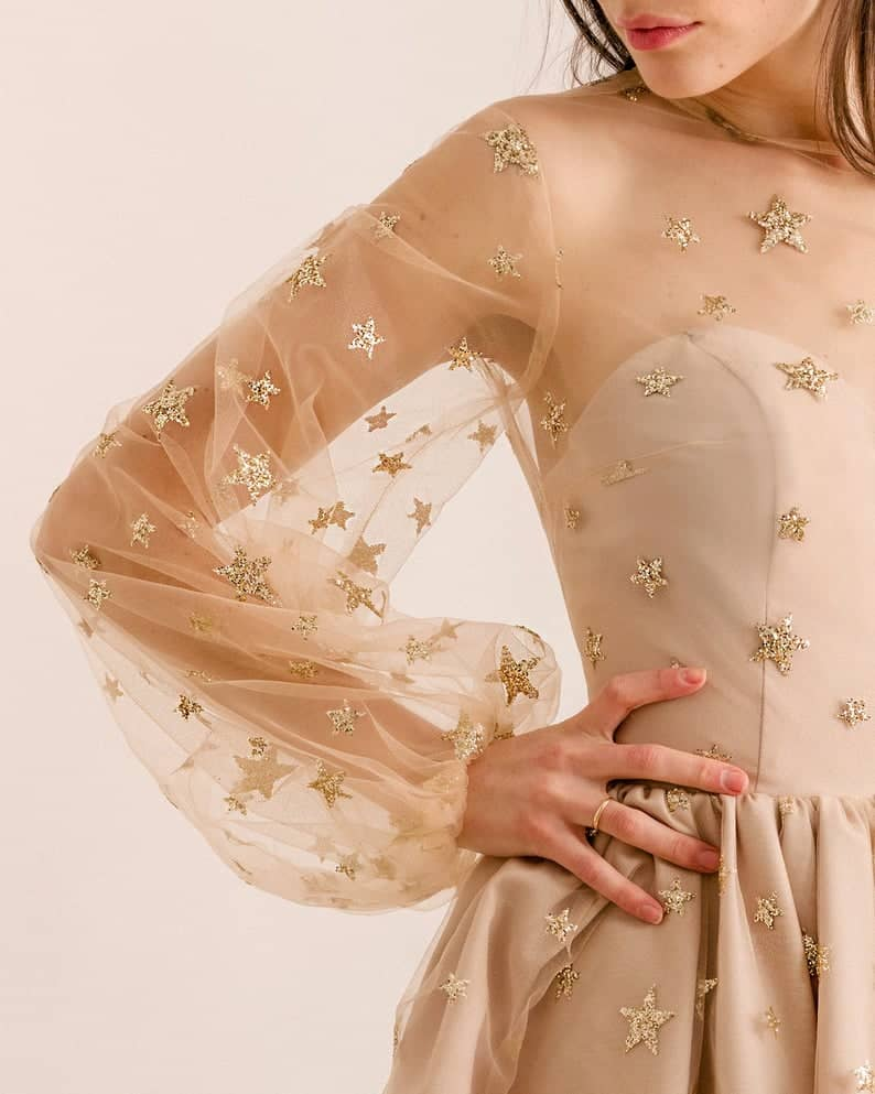 Teuta-Dress-Etsy-embellished-glittery-stars-short-galaxy-themed-wedding-gown