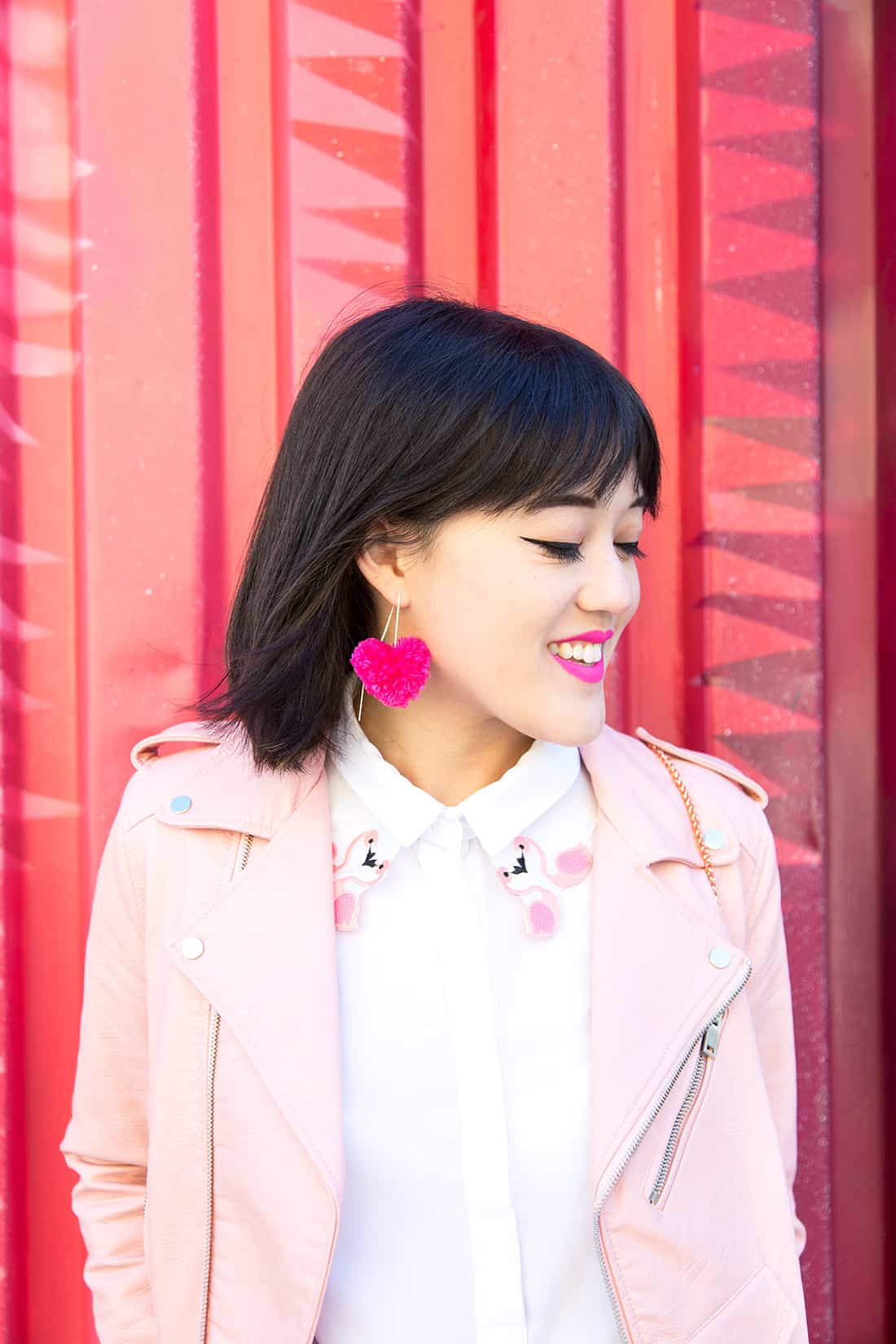 Heart Pom Pom Earrings by Aww Sam