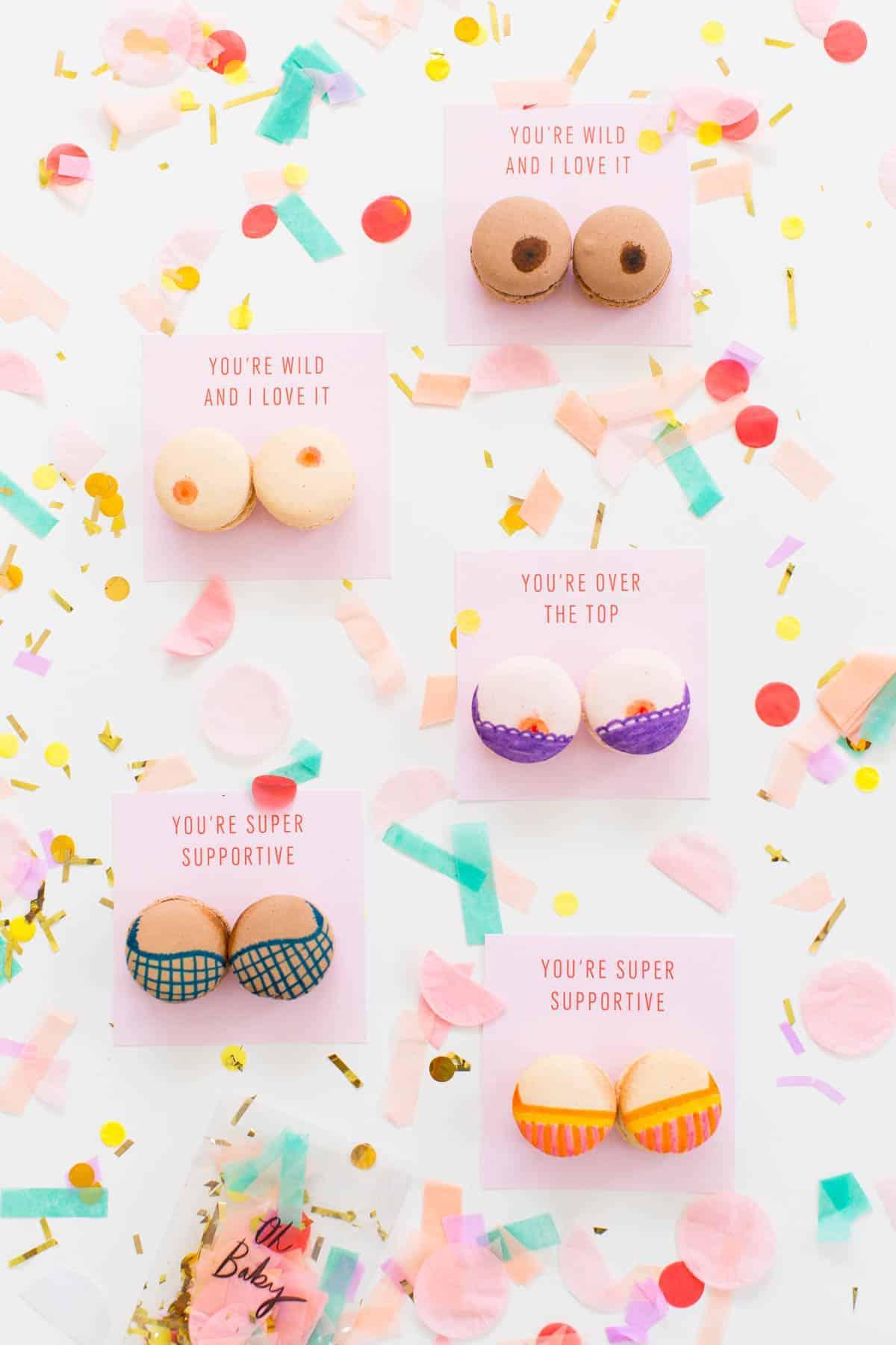 Boob Macarons & Printable Valentines