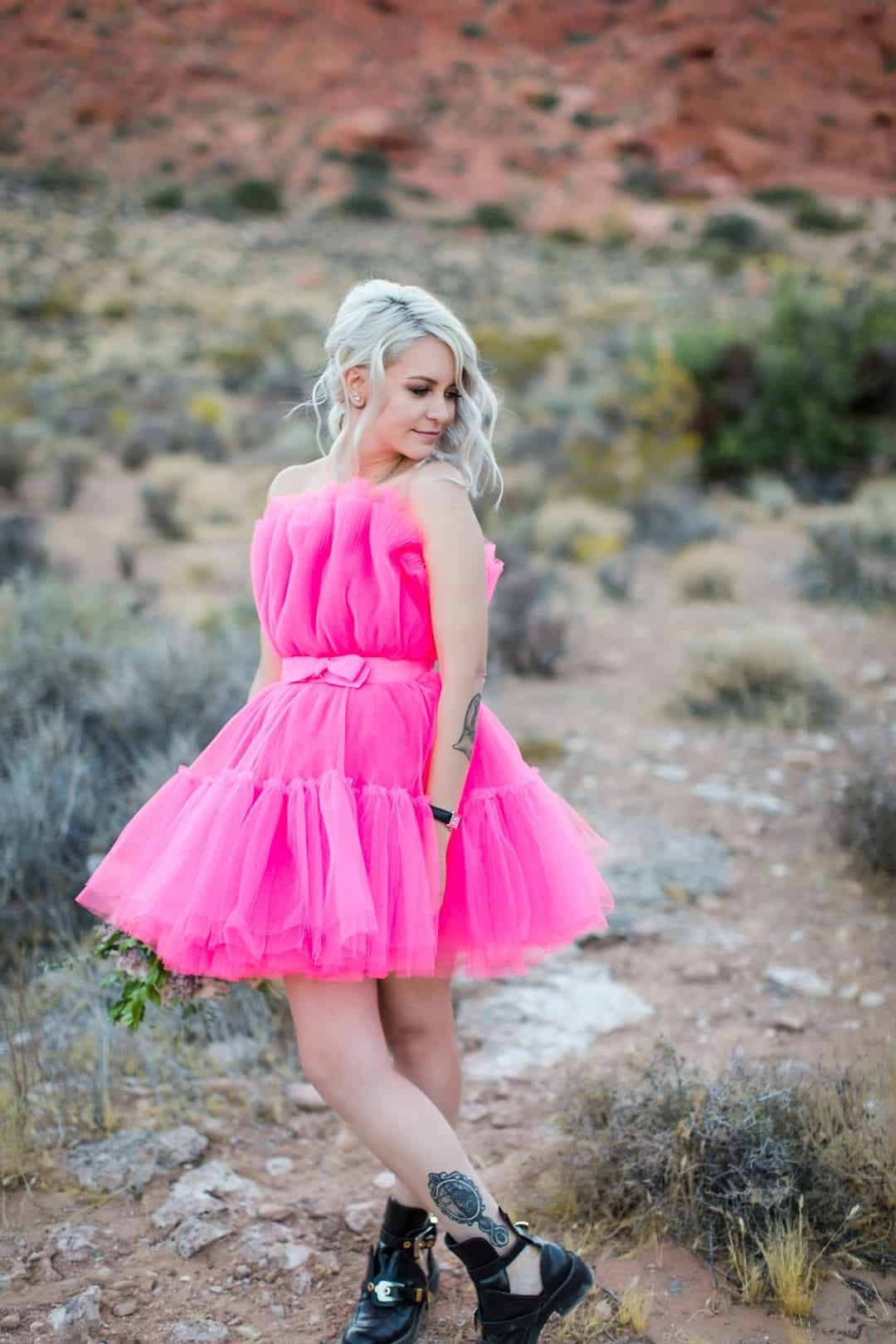 RED ROCK CANYON LAS VEGAS ELOPEMENT STARRING BRIDE IN SHORT PINK HIPSTER WEDDING DRESS