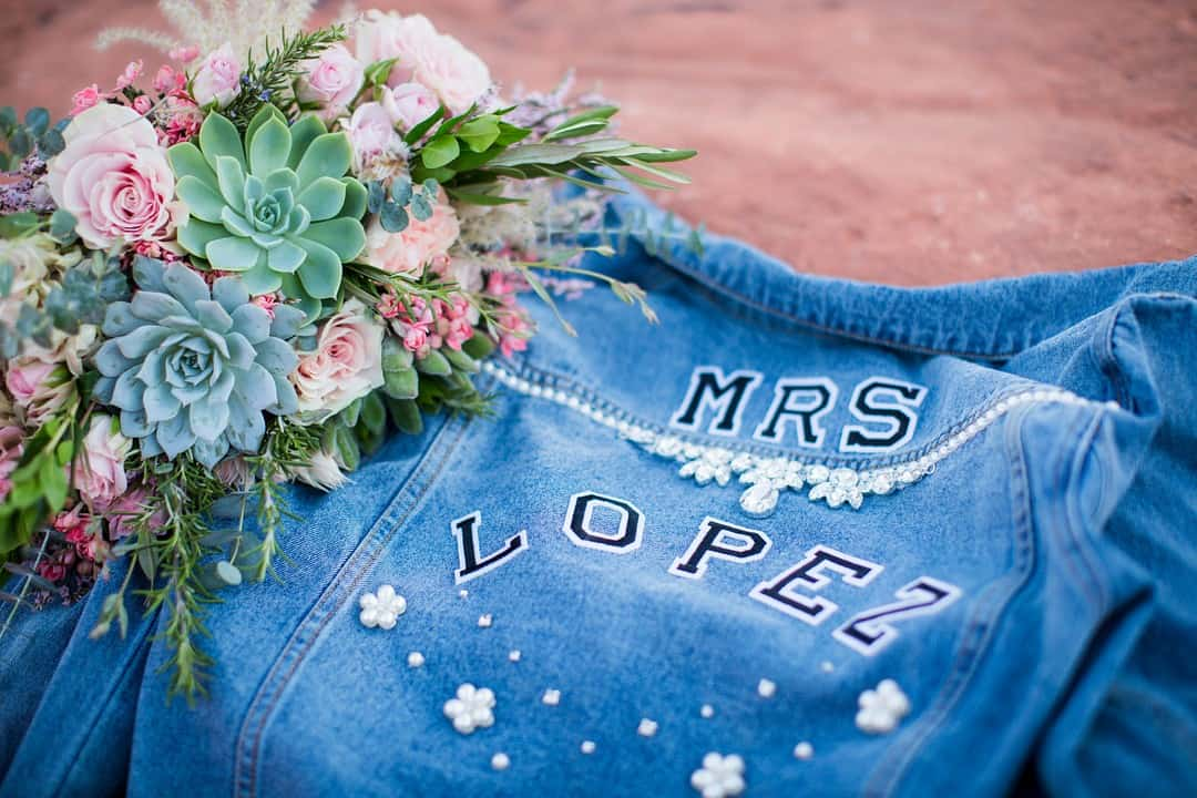 RED ROCK CANYON LAS VEGAS ELOPEMENT 'MRS' DENIM JACKET SLOGAN