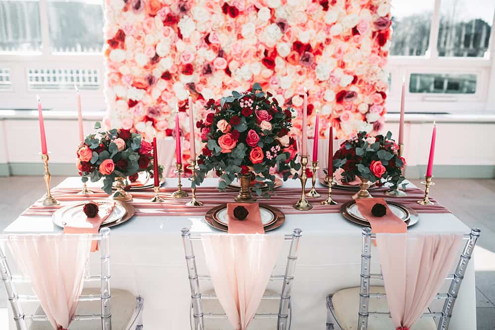 Red and Pink Valentines Day Galentines Day Wedding Ideas