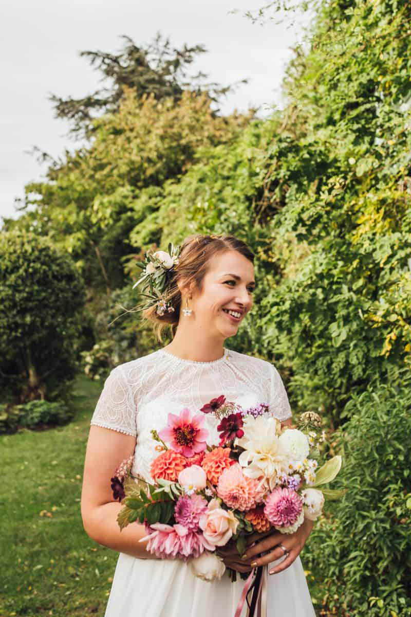 Fall wedding at Shropshire wedding veue, Walcot Hall. The couple opted for an Autumn colour scheme and handmade origami maple leaves and paper fortune tellers.