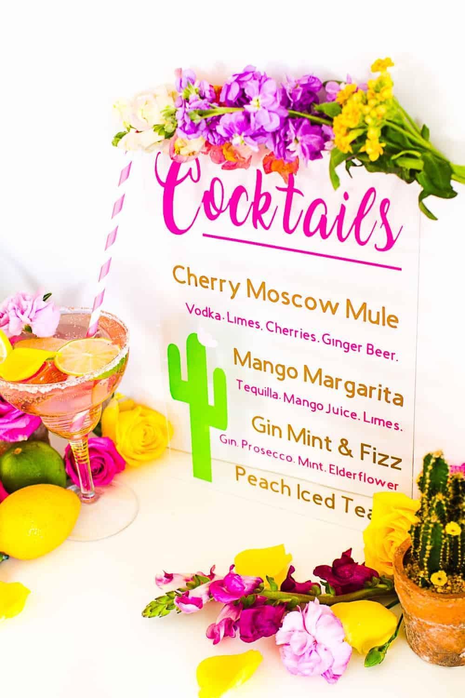 Cocktail-Menu-Sign-Glass-Plastic-Vinyl-Cricut-Made-Cactus-Theme-Tropical-Summer-Bar-Cart-Drinks-Reception-Flowers-Floral-Pink-cricut-tutorial