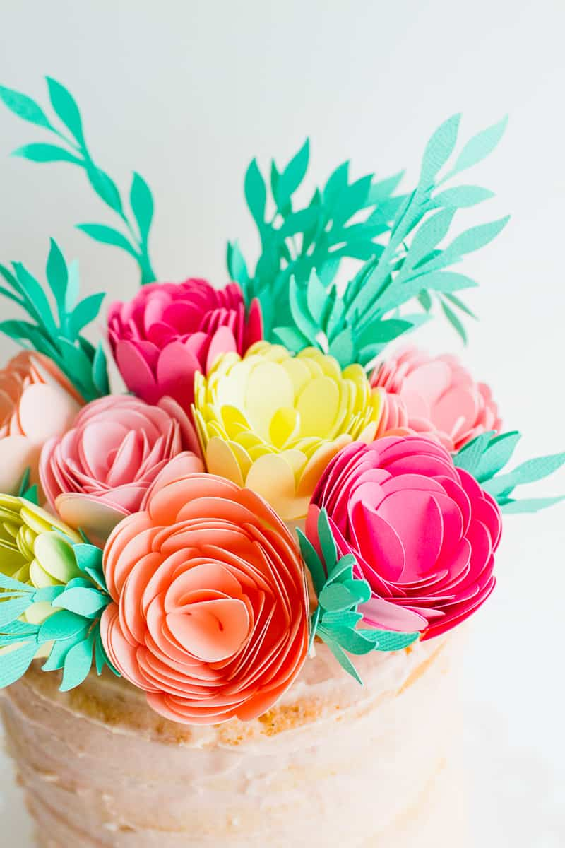 DIY-Card-Flower-Cake-Topper-with-Foliage-How-to-make-floral-Topper-Cricut-tutorial