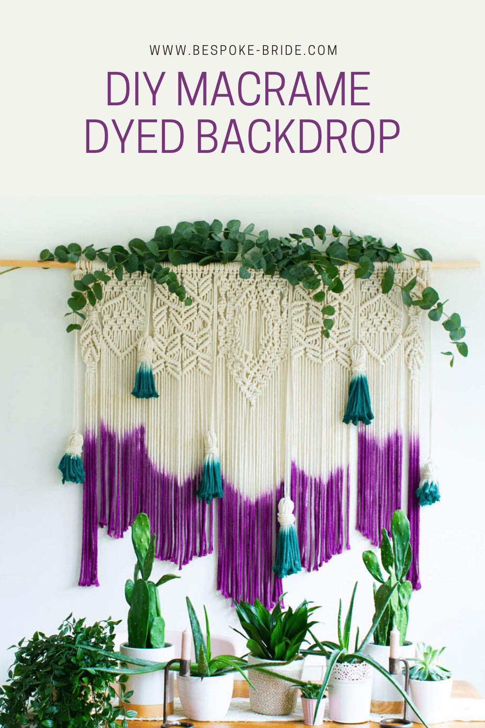 Learn how to make a DIY dyed macrame wall hanging backdrop with this tutorial, perfect for bohemian wedding decor