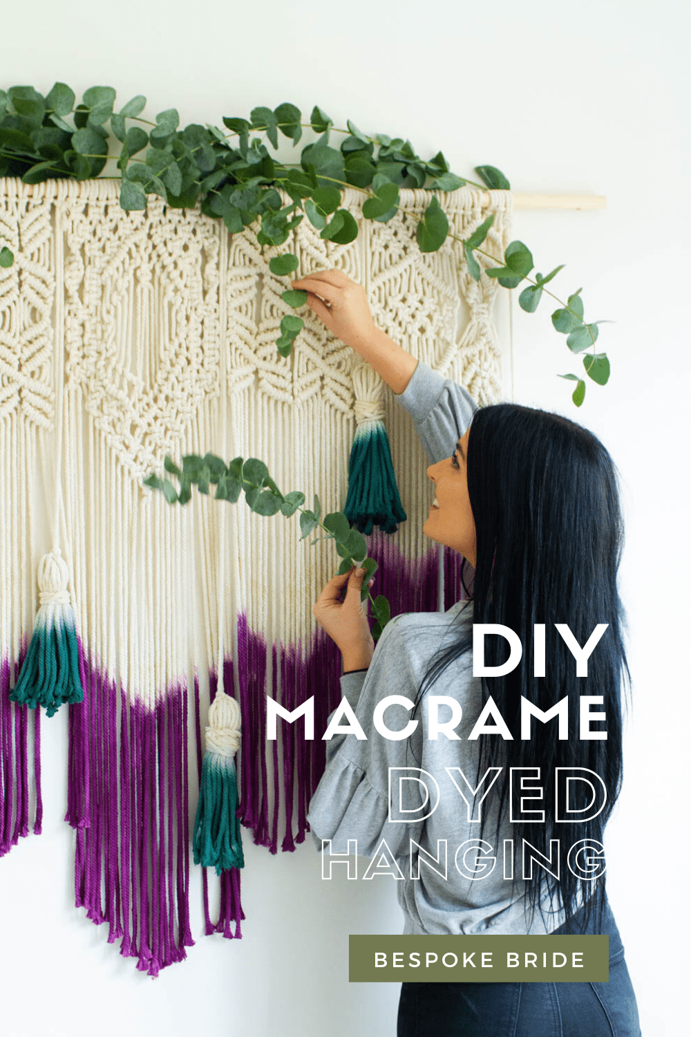 Learn how to make a DIY dyed macrame wall hanging backdrop with this tutorial, perfect for bohemian wedding decor Rit Dye