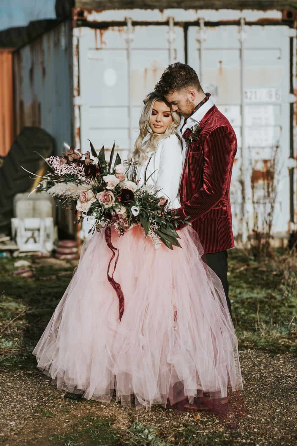 ROMANTIC MOODY ROCK AND ROLL WEDDING INSPIRATION DIY BARN WEDDING VENUE IN NOTTINGHAMSHIRE BURGUNDY COLOUR THEME UNIQUE HOT ROD WEDDING CAR