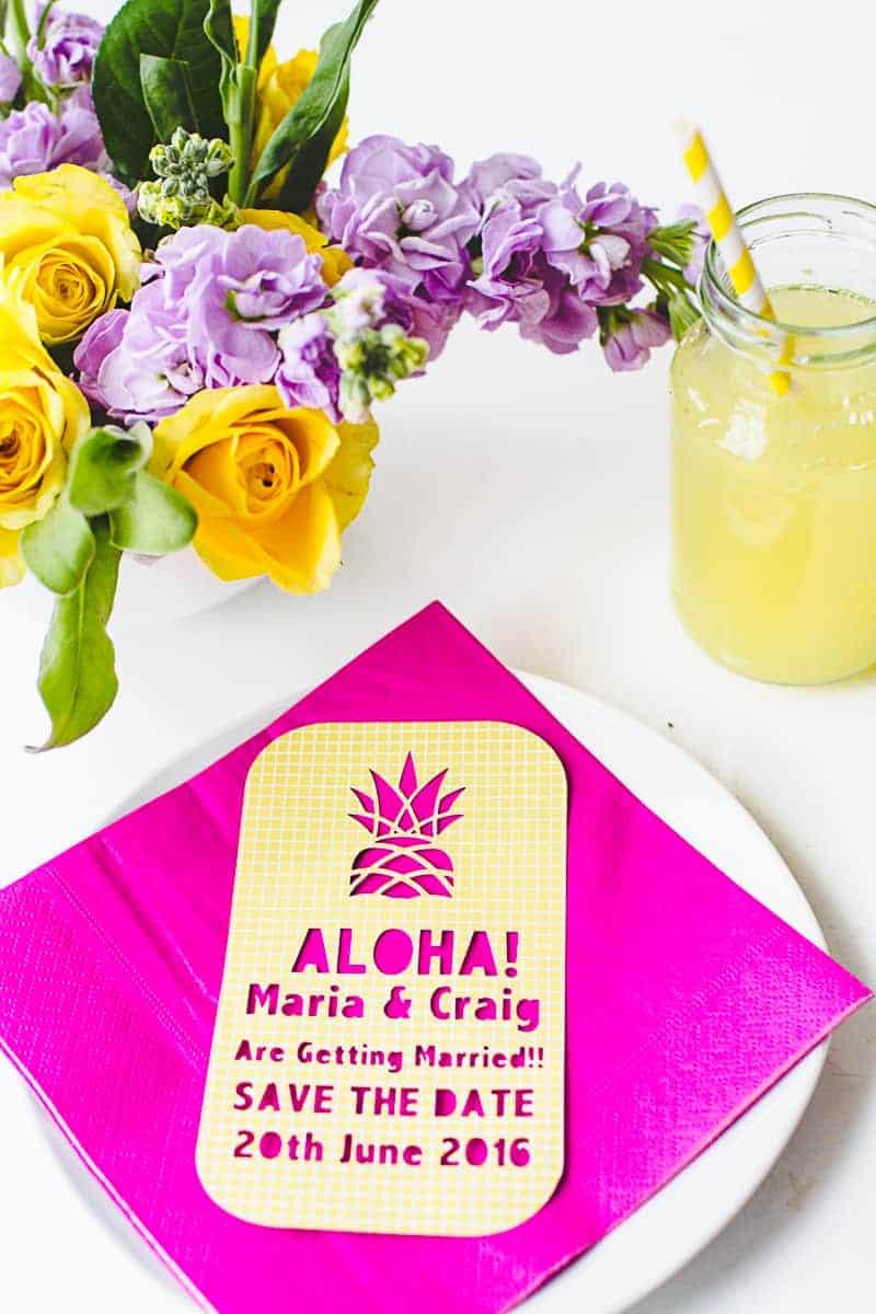 Tropical-Pineapple-Themed-Save-The-Date-Cutout-Stencil-Cricut-tutorial-wedding