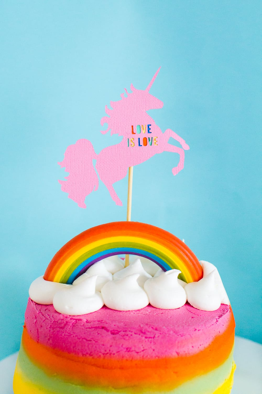 Unicorn-Rainbow-Cake-Topper-DIY-Same-Sex-Wedding-Inspiration-Love-is-love-modern-colourful-fun-tutorial-Cricut-Die-Cut